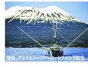 アラスカ/船、奥に山