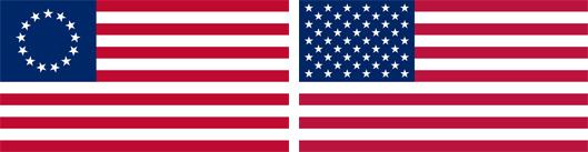 星条旗、独立当時(左)と現在(右)