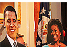 オバマ夫妻等身大の切り抜きパネル
