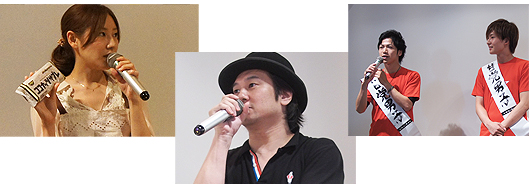 トークショー(左から)料理研究家の川島令美氏、コンビニアイス評論家のアイスマン福留氏、甘党男子2名