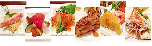 試食6種(左から:<アラスカ産>ズワイ蟹のサラダパスタ ~濃厚クリ―ミーソース/<アラスカ産>銀ダラのさっぱりエスカベッシュ風/<アラスカ産>天然キングサーモンのあじわいハーブマリネ/<アラスカ産>カリカリアーモンドの鮭南蛮/<アラスカ産>和の香り 葱味噌ロール/<アラスカ産>銀ダラと海老・イカのエスニック風サラダ)