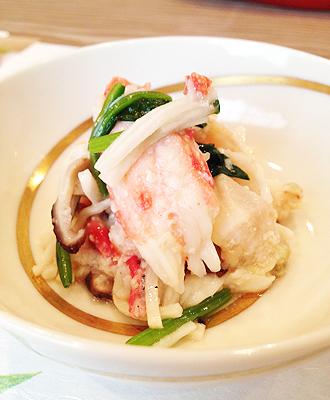 IMG:アラスカシーフードマーケティング協会協賛、名店「笹岡」・贅沢な蟹の食べ比べ/タラバガニの長芋あえ