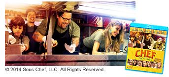 映画『シェフ 三ツ星フードトラック始めました』のパッケージと映画シーン((c)2014 Sous Chef, LLC. All Rights Reserved.)