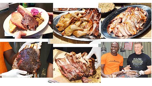 ビュッフェに並んだのはビーフブリスケット、チキンレッグ、ポークベイビー・バックリブ、ポークショルダー、そしてテクスメクス(メキシコ風アメリカ料理)のピントビーンズ、コールスロー。