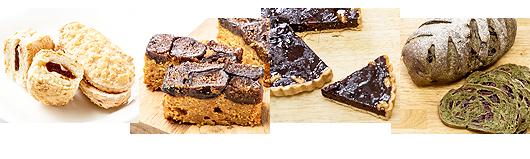 アメリカ産ブルーベリー、ラズベリー、ブラックベリー、九ランペリーなどが使われたスイーツやパン