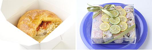 左:サーモンとカルローズのシチューポットパイ(第4回「カルローズ」料理コンテスト デリ部門最優秀賞)右:いわしのコンフィとカルローズ、蟹身のトマトリゾットの湯葉巻き(第4回「カルローズ」料理コンテスト デリ部門優秀賞)