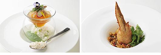 左:食べる冷製スープカルローズ 冷汁のイメージで...(第4回「カルローズ」料理コンテスト レストラン部門最優秀賞)右:鶏手羽先のカルローズ詰め スパイシーカルローズと共に(第4回「カルローズ」料理コンテスト レストラン部門優秀賞)