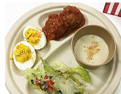 試食の料理:「アーモンドとレーズン入りミートボール」「カリカリくるみのチョップドサラダ」「ピスタチオデビルドエッグ」「濃厚ピーナッツポタージュ」