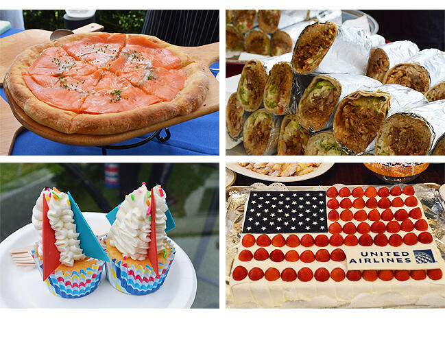 スモークドサーモン(左上)、ブリトー(右上)、ロケットを模したカップケーキ(左下)。星条旗柄のケーキ(右下)